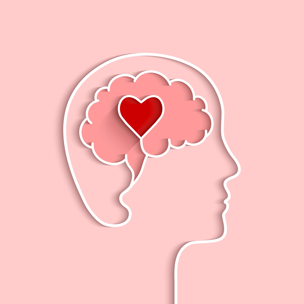 Head and brain outline with heart concept